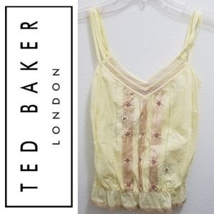 TED BAKER Sleeveless Yellow Foral Top